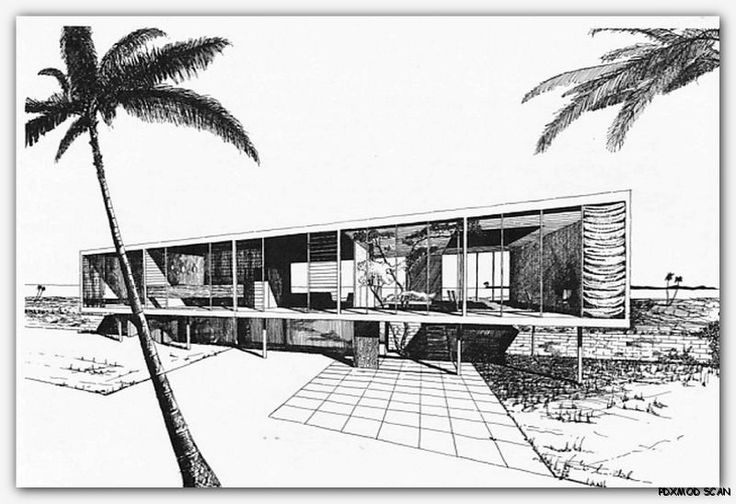 1960 Architectural Drawing Rendering Mid Century Modern