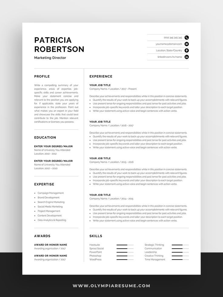 Professional 1 Page Resume Template Modern One Page Cv Word Mac Pages Minimalist Design Developer Designer Marketing Patricia Resume Template Resume Template Professional Resume Template Word