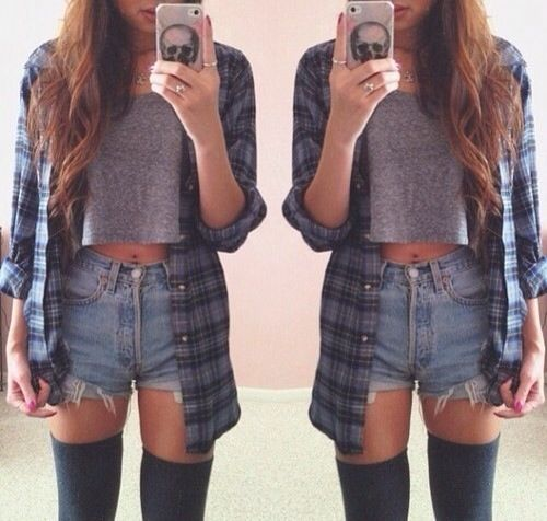 High waisted denim shorts, grey cropped tee, and a flannel, with knee high socks