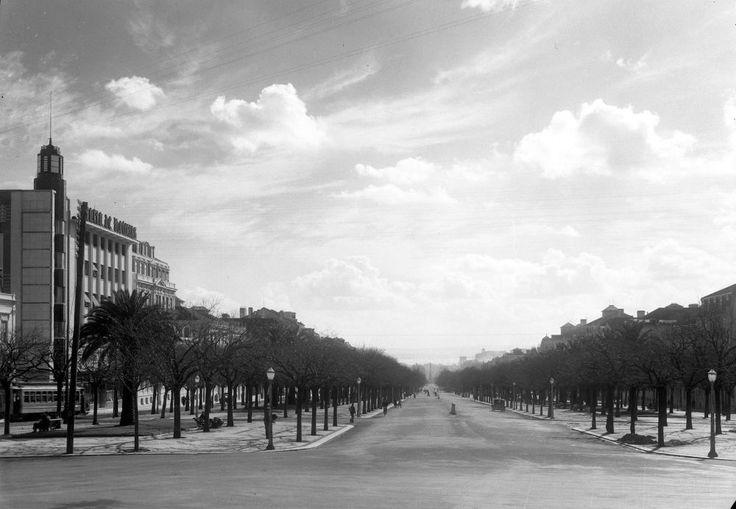 A Avenida da Liberdade nos anos 40, vista da Rotunda do Marquês de Pombal. À esquerda pode ver-se o edifício do Diário de Notícias.