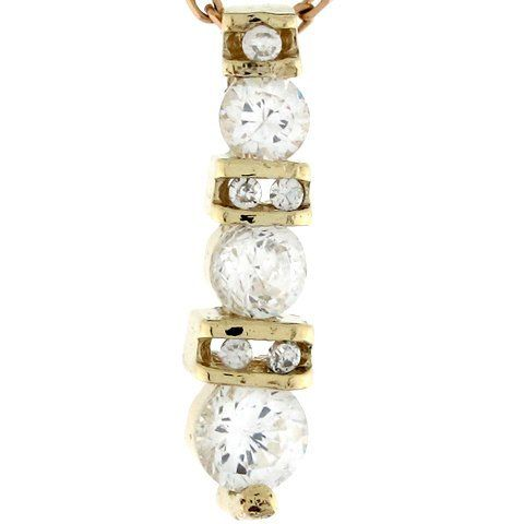 14k Solid Gold 3 Stone White CZ Petite Drop Unique Slide Charm Pendant Jewelry Liquidation. $118.21. Made with Real 14k Gold!. Made in USA!. Save 65%!