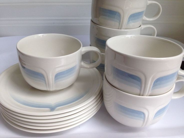 Vintage Johnson Brothers Cups Saucers, Blue Ice Pattern