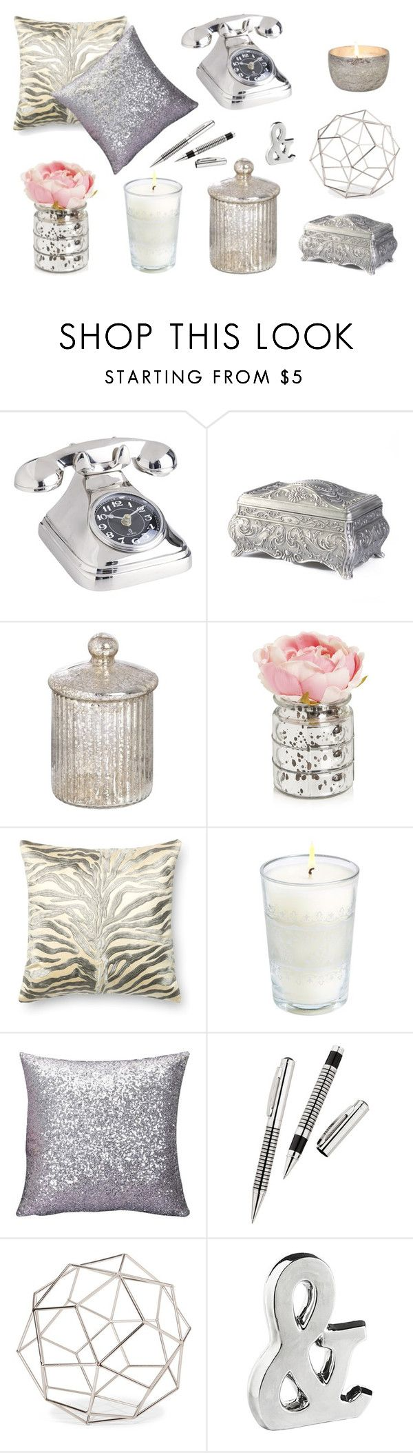 """""""Silver Dekor"""" by annabell-127 ❤ liked on Polyvore featuring interior, interiors, interior design, home, home decor, interior decorating, Pier 1 Imports, Loloi Rugs, Market Street Candles and Threshold"""