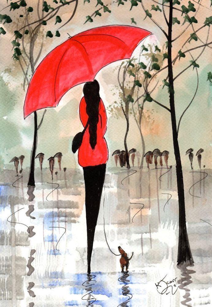 Картинки девушка под дождем с зонтом нарисованные, днем рождения татьяна