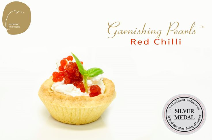 Red Chilli Garnishing Pearls and goats cheese tartlet.