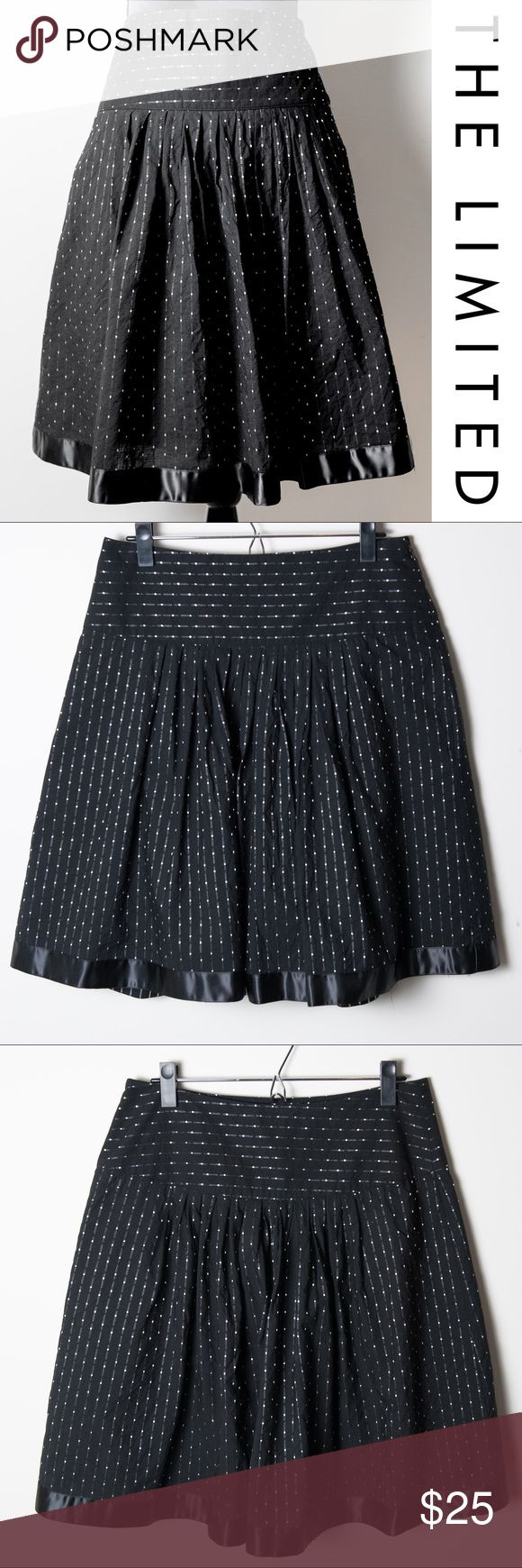 The Limited Skirt Black Dot Pattern Black White Size 6 skirt from The Limited. A-line full black skirt with off-white dot pattern. Silk trim across the bottom. Linned. Machine wash cold gentle cycle. Tumble dry low, warm iron if needed. Shell - 90% cotton, 10% polyester. Lining 100% cotton. The Limited Skirts A-Line or Full
