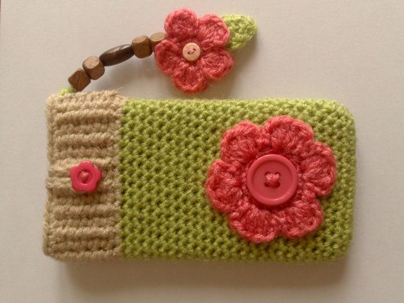 Handmade iphone / mobile cell phone cover case sock by CraftySue77