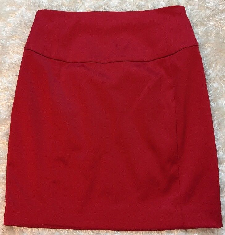 Express Pencil Skirt Womens Size 4 RED sateen Finish LINED Zip Back #Express #StraightPencil