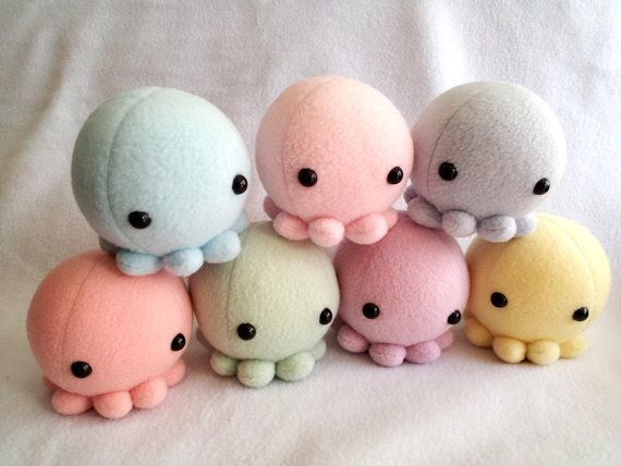 Plush Octopus by ValkyriaCreations on Etsy, $16.00 cute kawaii mini plushiee toys for gifts make from fleece or socks