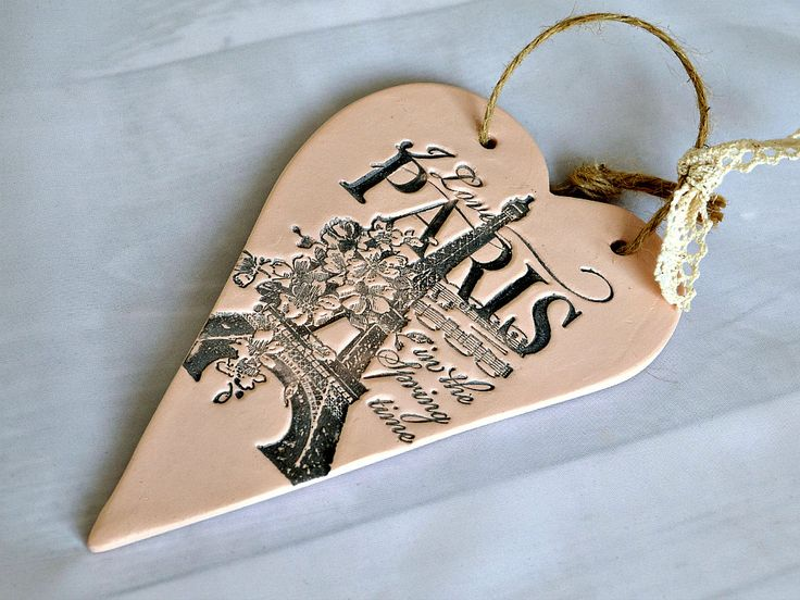 Paris theme bedroom decor, I love Paris in the spring time, French chic hanging heart plaque, Eiffel tower decor, Paris lover gift by FrivolousCrafts on Etsy