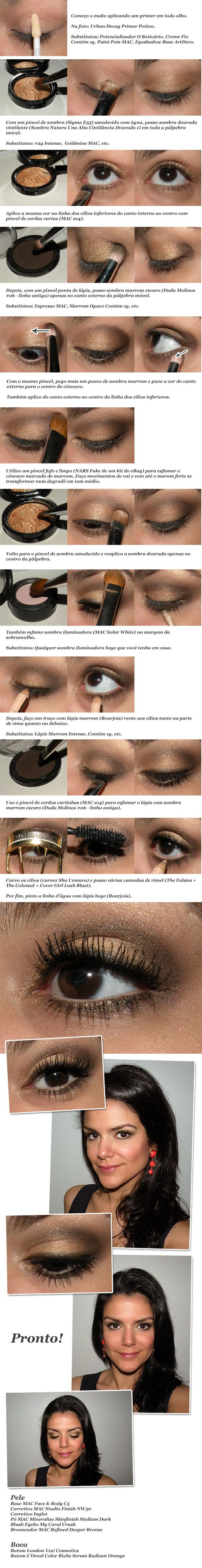 Gold and dark brown/espresso eyeshadow tutorial