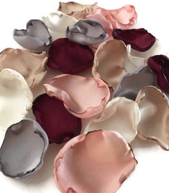 Marsala Maroon, blush pink, ivory, champagne, silver mix of flower petals, rose petals, Burgundy table decor, flower girl petals, wedding