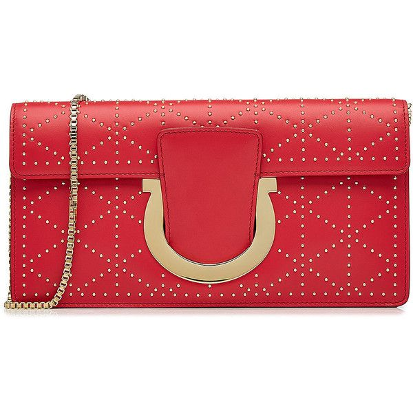 Salvatore Ferragamo Embellished Leather Clutch Bag (£480) ❤ liked on Polyvore featuring bags, handbags, clutches, red, real leather purses, red handbags, red clutches, studded purse and red leather purse