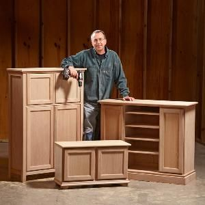 DIY Furniture from stock cabinets, use this idea to create a mini mud room, a built in banquette, and a GINORMOUS entertainment center.  This is so easy, much cheaper than buying the prefab junk they sell in the store (better quality too) and the end result is always awesome!!!  You can paint or stain the finished product and add just about any embellishment your heart desires.  LOVE this!