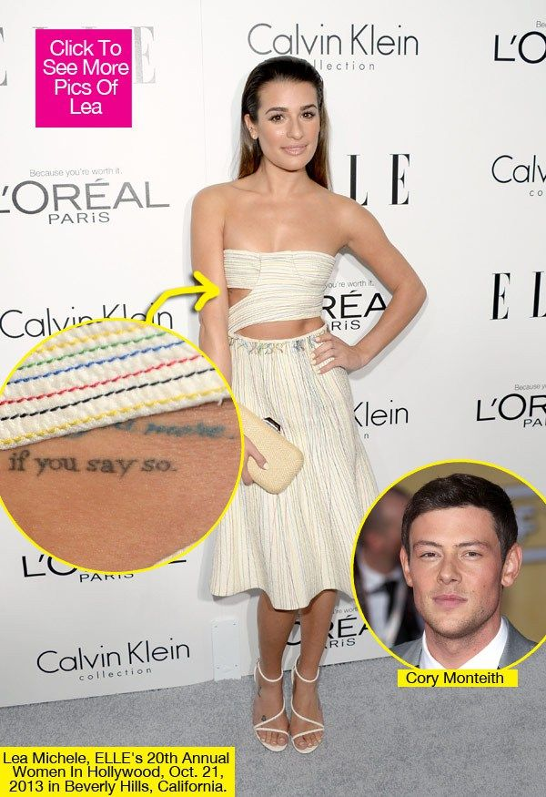 Lea Michele Records Song For Cory Monteith and got a tat of his last words! :'(