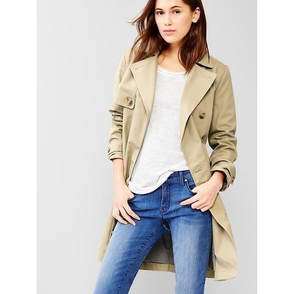 Gap Classic Trench ($128) ❤ liked on Polyvore featuring outerwear, coats, chino academy, regular, trench coat, double breasted trench coat, petite trench coat, long sleeve coat and double-breasted coat