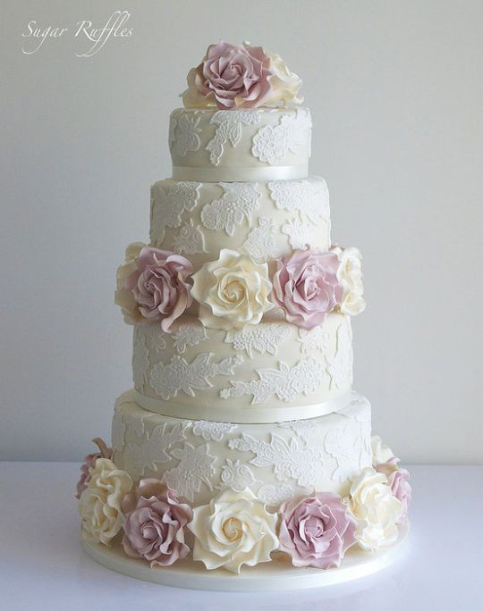 Lace wedding cake with cream  and  sugar amnesia roses  ~ all edible
