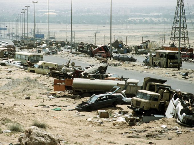 "Highway of Death, Iraq: It's a given that many Iraqi roads are dangerous as of late, littered as they are with improvised explosive devices (IEDs) originally intended for American troops and their allies. But one stretch of Highway 80, from Kuwait City to Basra, was dubbed the ""Highway of Death"" during the Persian Gulf War after U.S. aircraft bombed a retreating column of Iraqi tanks and trucks, destroying 2,700 vehicles in all."