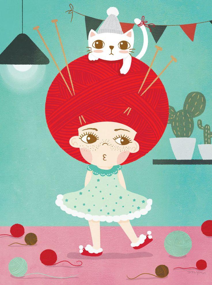 cute girl illustrations / cat & girl illustration/kids room / wall…