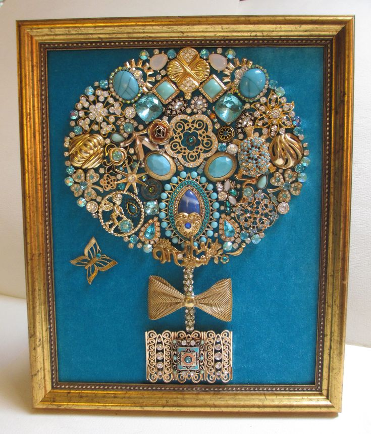 Jeweled Framed Jewelry Topiary Mother Turquoise Blue Gold Vintage Rhinestone Turtle Fabulous by audreymivey on Etsy