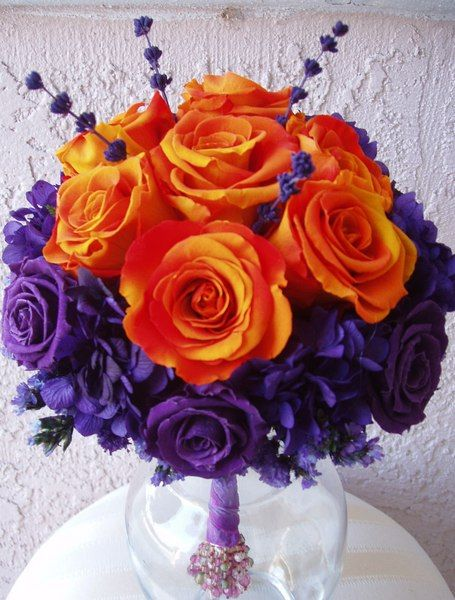 purple and orange flowers (i love them)
