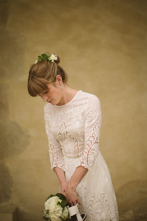 A short wedding dress by Dolce Vita, from 'Wild Flowers In Her Hair ~ A Relaxed, Rustic and Intimate Wedding in the South of France', on www.lovemydress.net.     Photography by http://tomravenshear.com/  Weddings in France, rural weddings, rustic weddings, outdoor weddings, natural weddings, relaxed weddings, intimate weddings