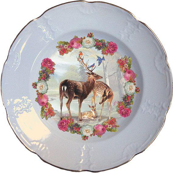 Flowered deer plate Altered Antique Porcelain by ArtefactoStore, €38.00