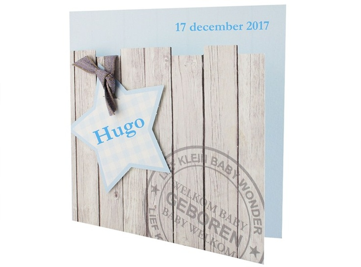 97.550 Blauw, ruitjes, ster, strikje, steigerhout - Family Cards - De allerliefste geboortekaartjes