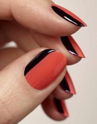 Love this mani! To recreate this look use gel colors 'Coral Sunset' and 'Midnight Rendezvous' - sensationail.com