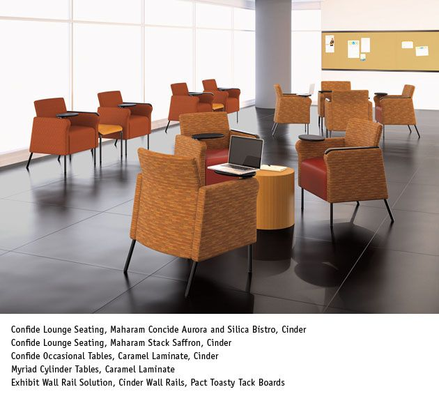 Confide lounge seating with tablet arm national office for Furniture nation