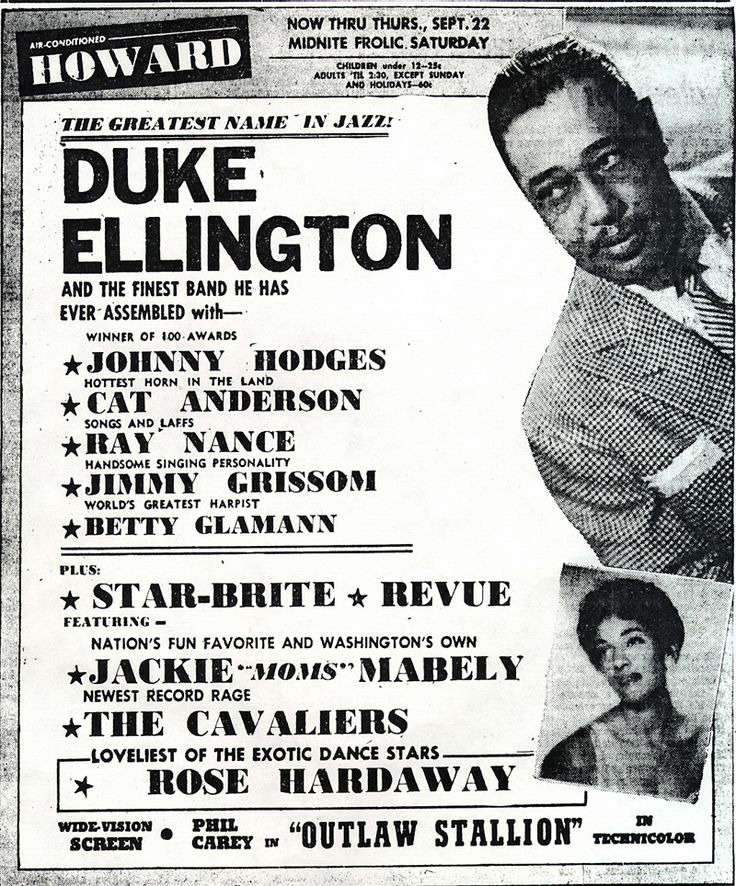 Some of the famous starts of Shaw's renaissance. The most well known artist from the neighborhood was Duke Ellington, who performed famous jazz pieces across America. [5]