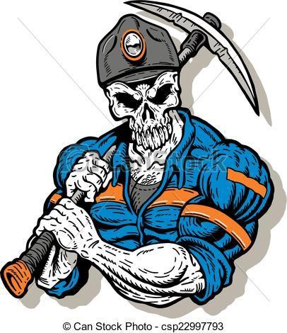 vector coal miner with skull face stock illustration royalty free illustrations stock clip. Black Bedroom Furniture Sets. Home Design Ideas