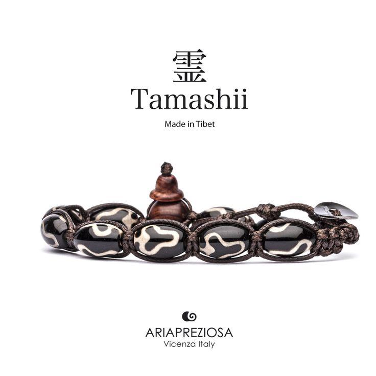 """Tamashii - Serie Speciale BkraShi realizzato con pietre naturali Onice con disegno tradizionale a mano dal significato """"AMORE"""""""