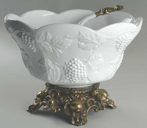 COLONY Harvest-Milk Glass punch bowl with metal base- WOW! I have broken stemmed bowls that I could marry to metal bases.