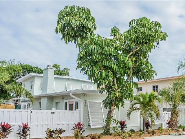 Completely remodeled Tri-plex w private pool. Located on a quiet street less than 2 blocks to the beach. One 2 BD 1BA w/Den located on the ground floor one ground floor 1 BD 1BA overlooking the pool and lush tropical landscaping and one 1 BD 1BA 2nd floor unit. All units have new furnishings extra linens flat screen TVs fully equipped kitchen with dishes utensils pots and pans small and large appliances etc. Community laundry room features 2 washers and 2 dryers. Weekly rentals allowed.