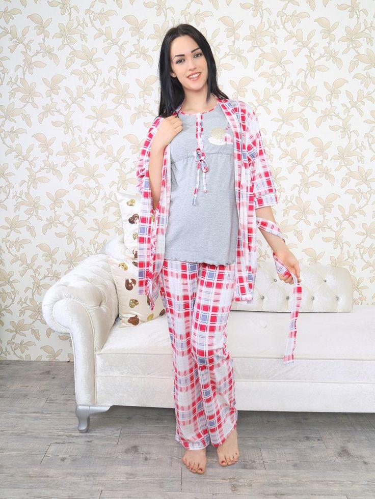 Miss Perry 6030 Hamile Pijama Takım, Penye kumaştan üretilen hamile pijama takım modelidir. Sabahlık dahil değildir.