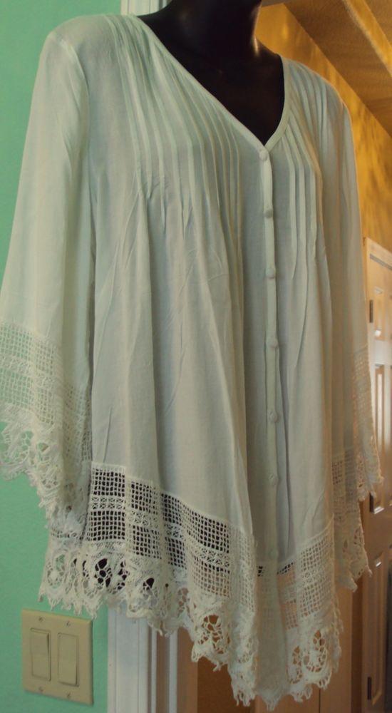 New Solitaire White Vintage Crochet Lace Blouse Tunic Top