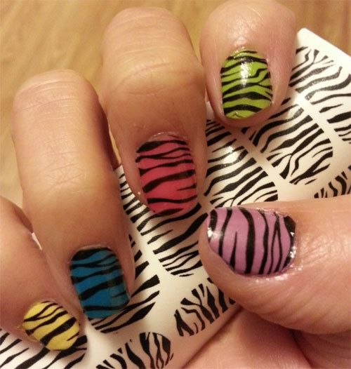 ZEBRA / TIGER STRIPE Nail Art Decals - Full Nail Decoration Long and Short Nails - Black Transparent  Waterslide Stickers