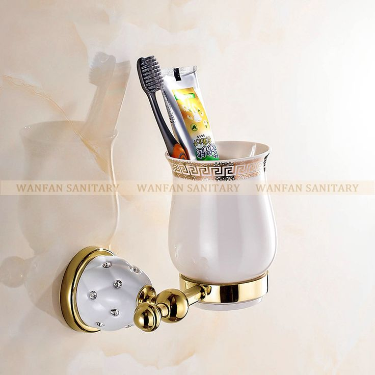 New Modern accessories luxury European style Golden copper toothbrush tumbler&cup holder wall mount bath product 5202