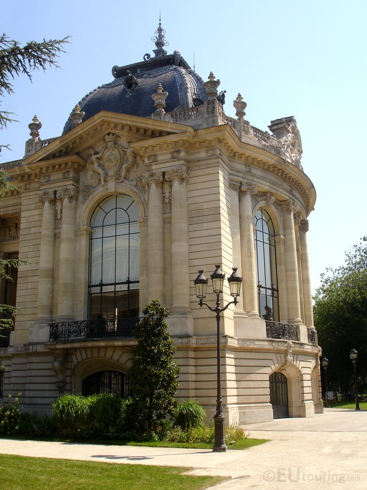 In this photo you can see the corner of the Petit Palais, showing the amazing architecture with its designs, columns, balcony, as well as the garden which holds lovely trees and greenery.  Daily updates at www.eutouring.com
