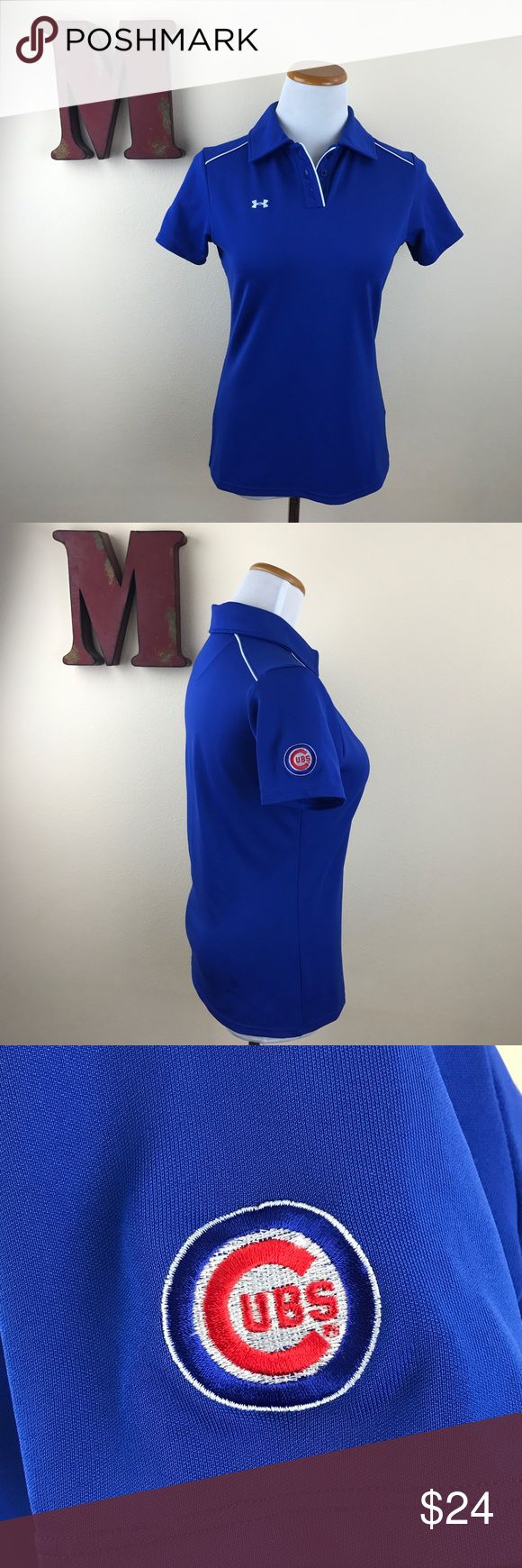 UNDER ARMOUR Chicago Cubs Polo World Series Champs, Chicago Cubs blue with white piping and Cubbies logo on sleeve. 95% polyester; 5% elastane for a flattering fit. Excellent preowned condition. Only flaw is name written on tag as pictured. Under Armour Tops