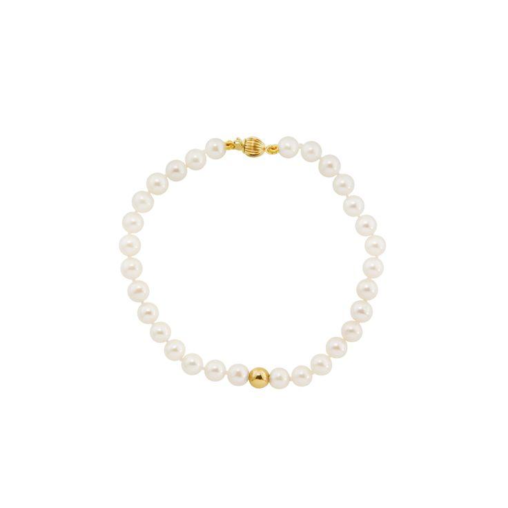 Βραχιόλι με λευκά μαργαριτάρια και χρυσά στοιχεία Κ14 - M122360