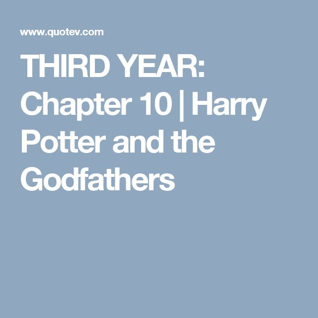 THIRD YEAR: Chapter 10 | Harry Potter and the Godfathers