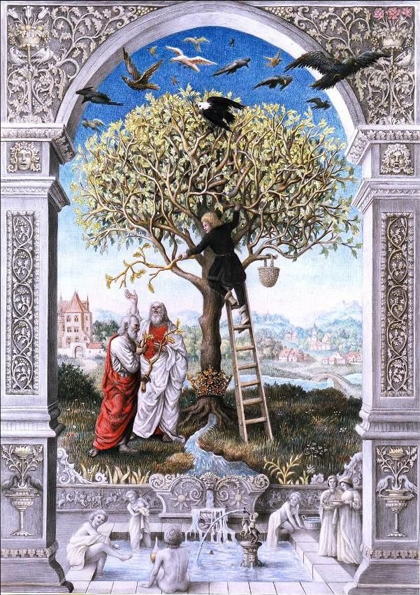 Laurie Lipton. Splendor Solis: The Tree of Alchemy, 1989. Color pencil on paper.