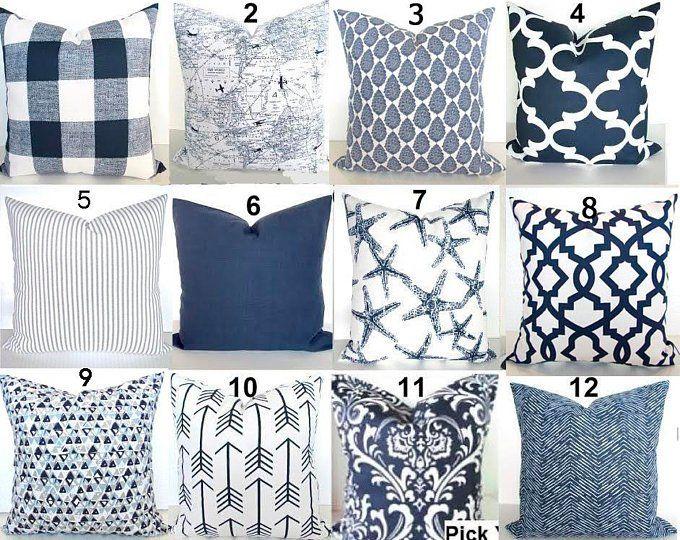 Blue Pillows Blue Throw Pillows Navy Blue Decorative Pillow Etsy Blue Throw Pillows Blue Throw Pillow Cover Navy Blue Throw Pillows
