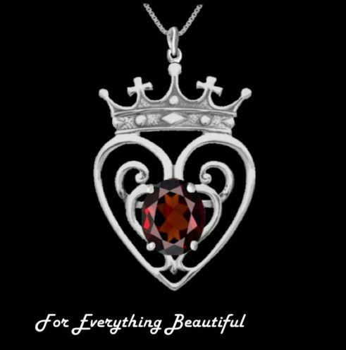 Queen Mary Design Garnet Luckenbooth Large Sterling Silver Pendant