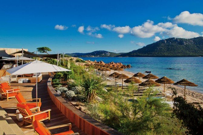 The view from the terrace at La Plage Casadelmar in Corsica. Photo courtesy of Design Hotels