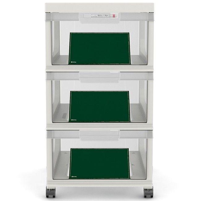 Tour de rangement plastique et ardoise 3 tiroirs