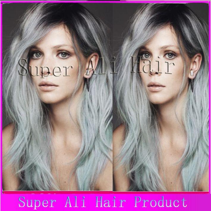 Cinza cinza peruca frente peruca de cabelo virgem brasileiro frente peruca onda do corpo para as mulheres negras frete grátis(China (Mainland))