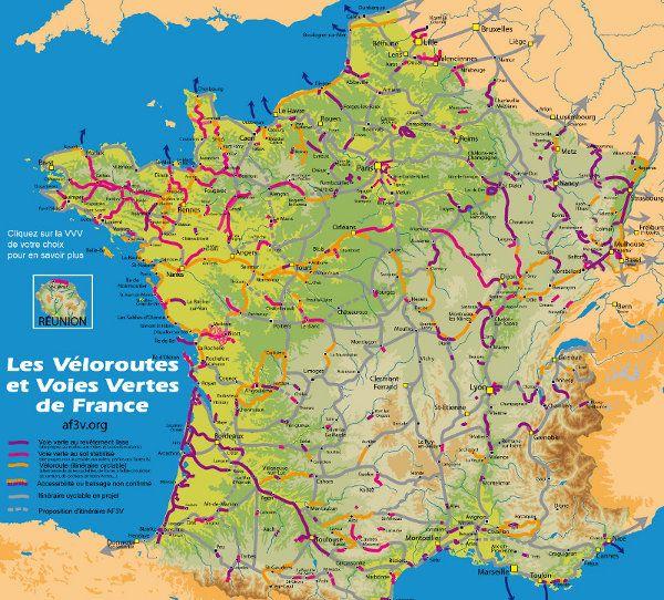 La Sante Et Le Velo | Une carte détaillant les véloroutes et les voies vertes de France